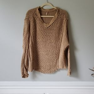 FREE PEOPLE | Brown Open Knit V-Neck Sweater | S